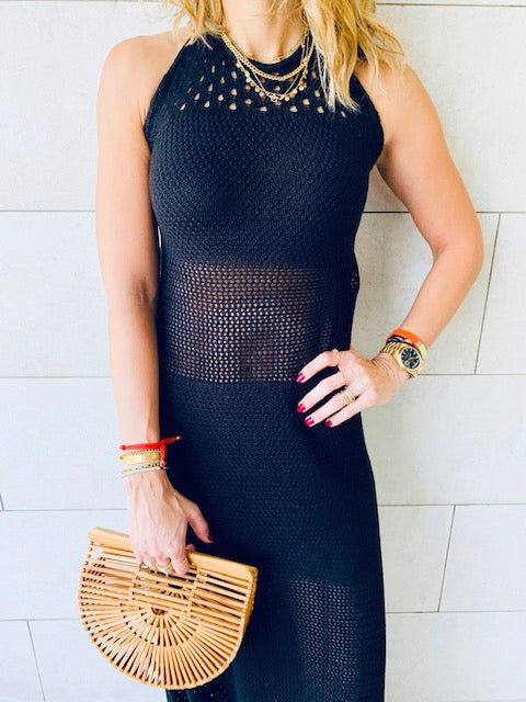 Black Goddess Crochet Beach Dress