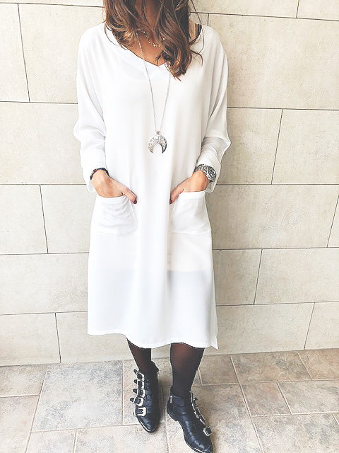 White Double Pocket Tunic