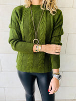 Olive Nordic Cable Pullover