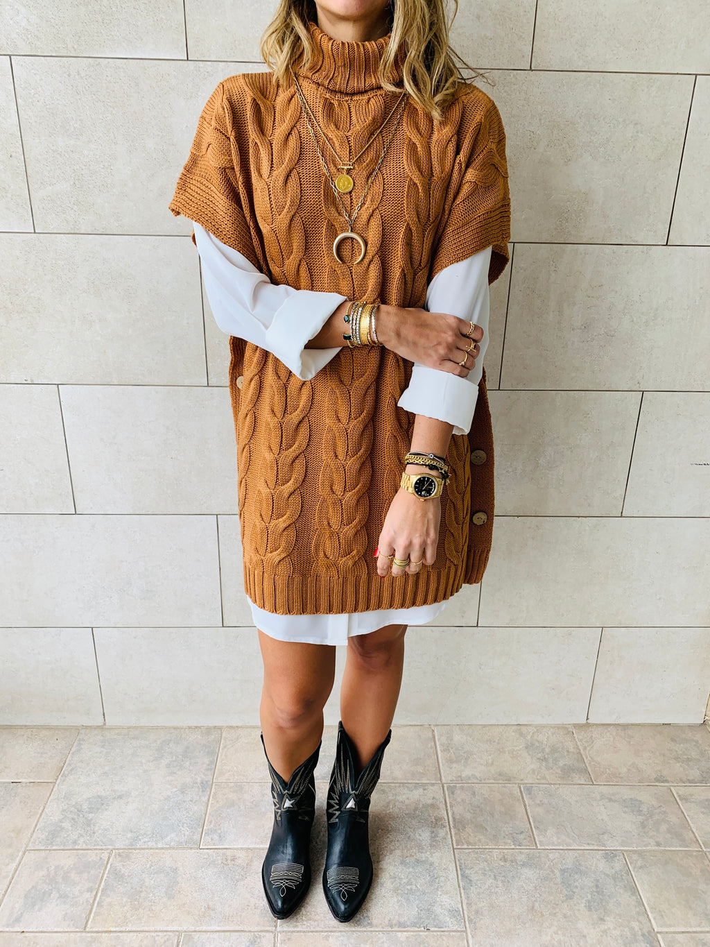 Rust Kate Cable Poncho