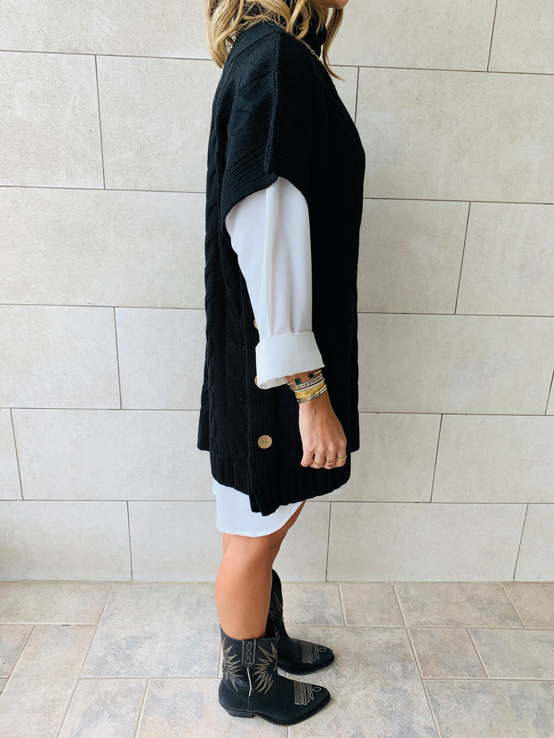 Black Kate Cable Poncho