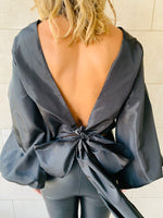 Black Bow Back Top