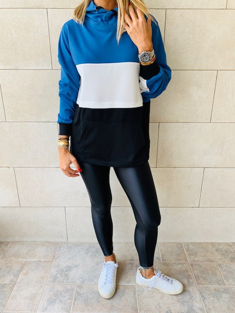 Blue Colour Block Sweatshirt