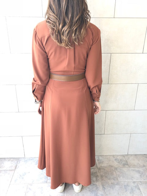 Copper Maxi Shirt Dress