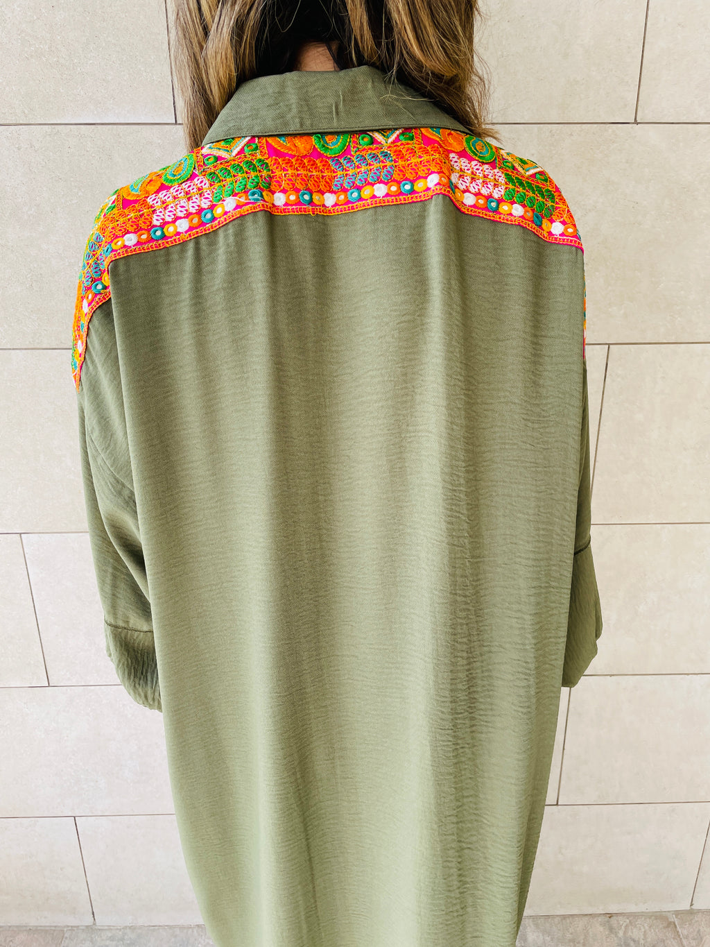 Olive Embellished Back Smock Dress