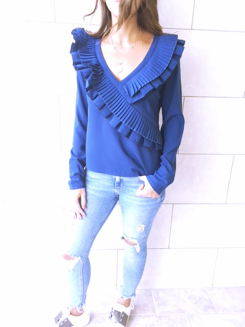 Navy Ruffle Detail Top