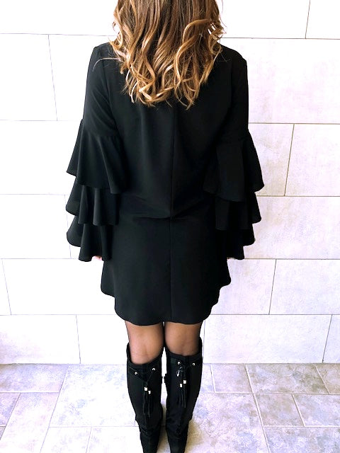 The Black Ruffle Sleeve Tunic