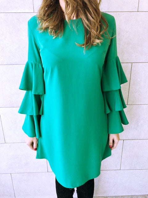 The Green Ruffle Sleeve Tunic