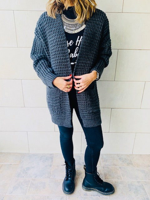 Charcoal Brushed Knit Cardigan