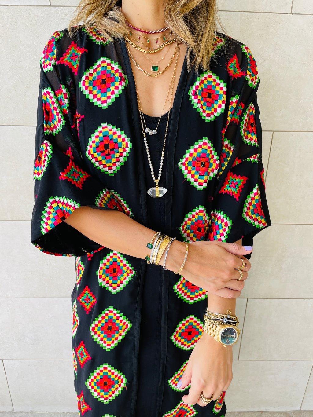 The Geometric Embellished Royal Kimono