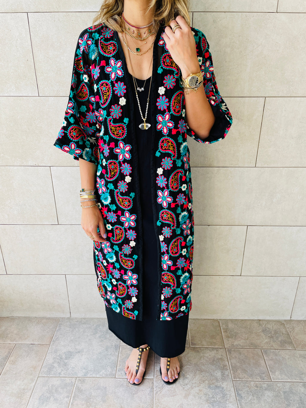 The Paisley Embellished Royal Kimono
