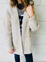 Beige Brushed Knit Cardigan