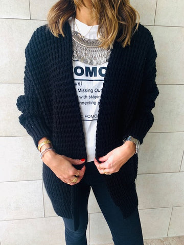 Black Brushed Knit Cardigan