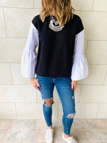 Balloon Sleeve Shirt Sweatshirt