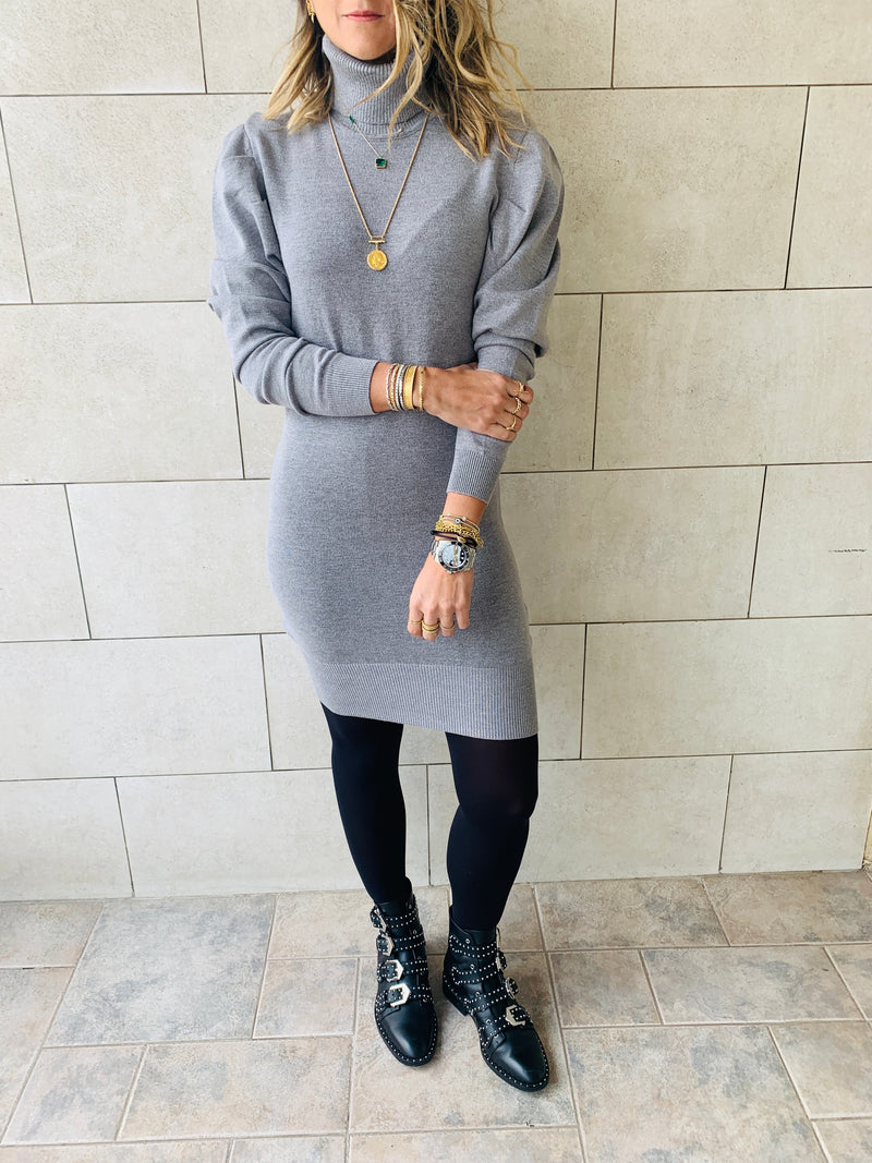 Grey High Neck Knit Dress