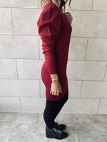 Burgundy High Neck Knit Dress