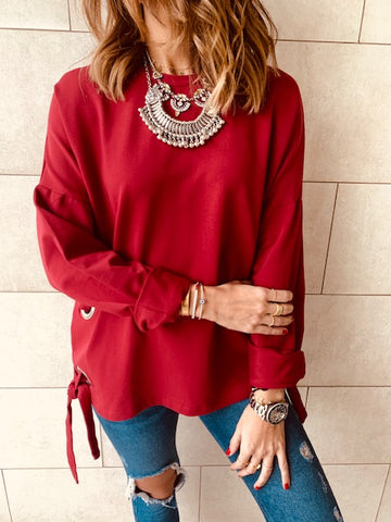 Burgundy Ring Detail Sweatshirt