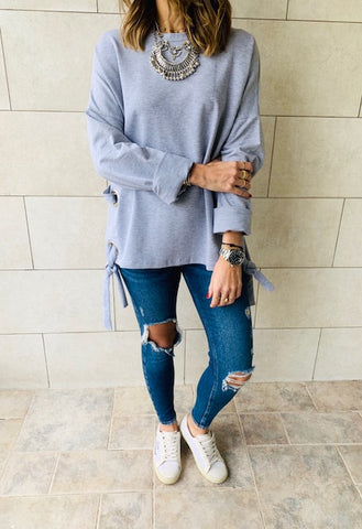 Grey Ring Detail Sweatshirt