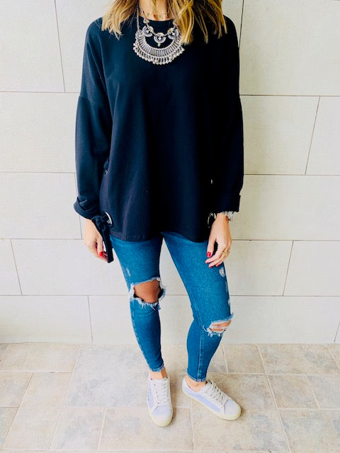 Black Ring Detail Sweatshirt