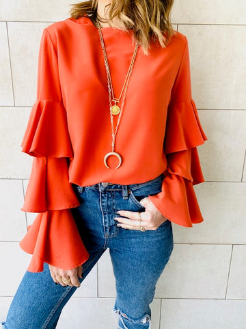 Orange Laid Back 70s Top