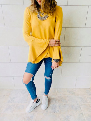 Mustard Flowy Sleeve Top