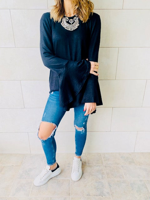Black Flowy Sleeve Top