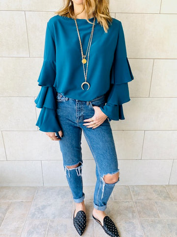 Teal Laid Back 70s Top