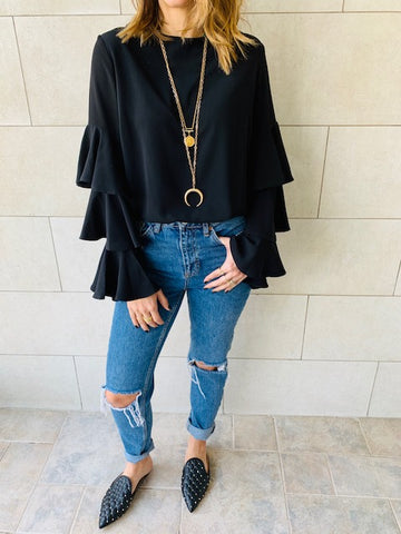 Black Laid Back 70s Top