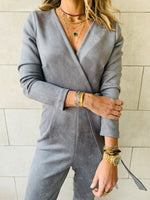 Grey Suede Jumpsuit