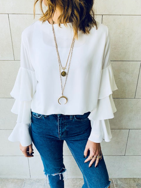 White Laid Back 70s Top