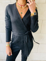 Black Suede Jumpsuit