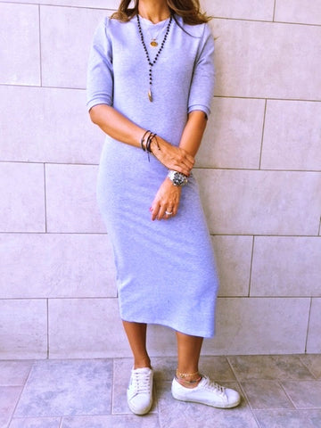 Fall Grey Midi Sweat Dress