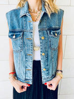 Blue Denim Cropped Vest