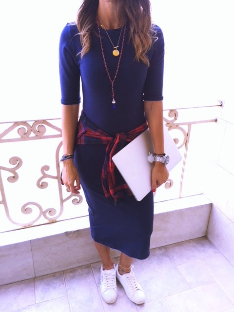 Fall Navy Midi Sweat Dress