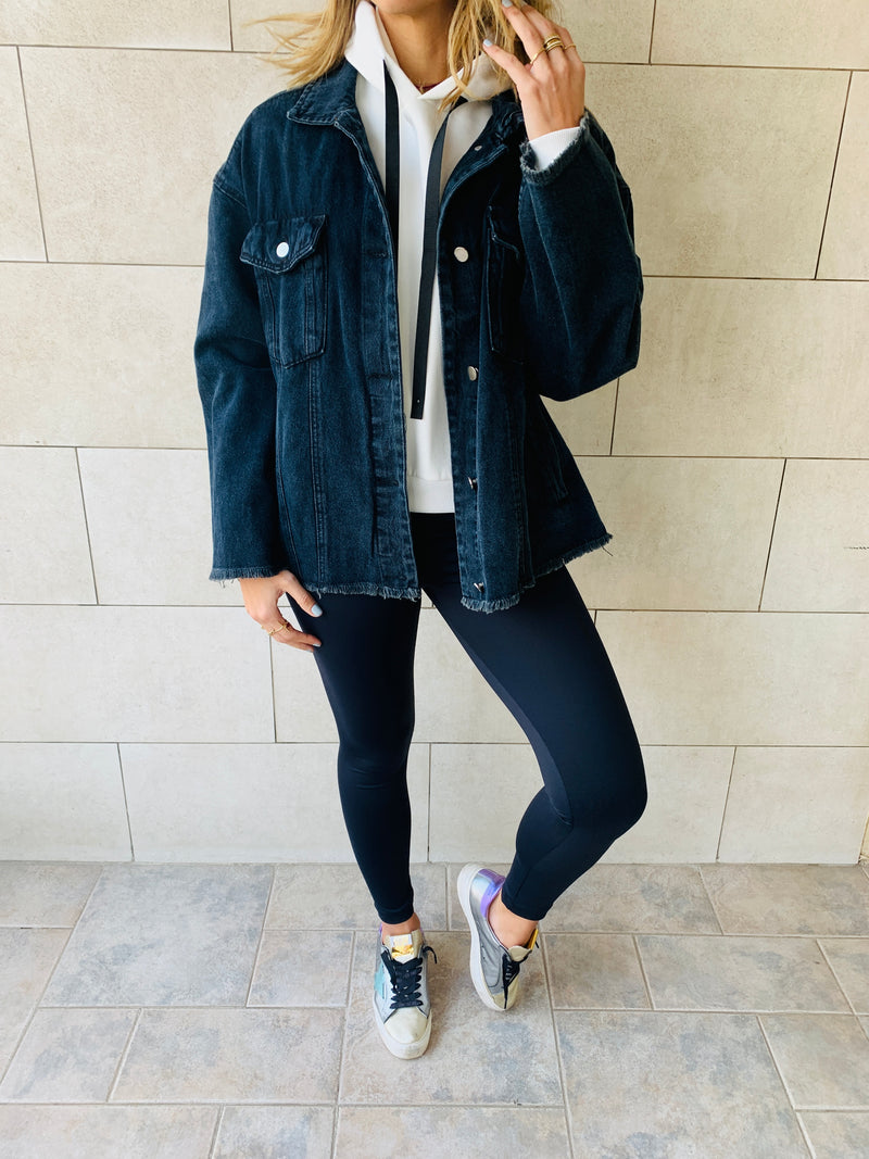 Black Denim Frayed Over Shirt