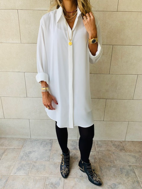 Essential White LongLine Shirt