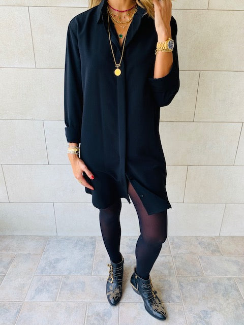 Essential Black LongLine Shirt
