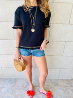 Black Short Sleeve Tassel T-shirt