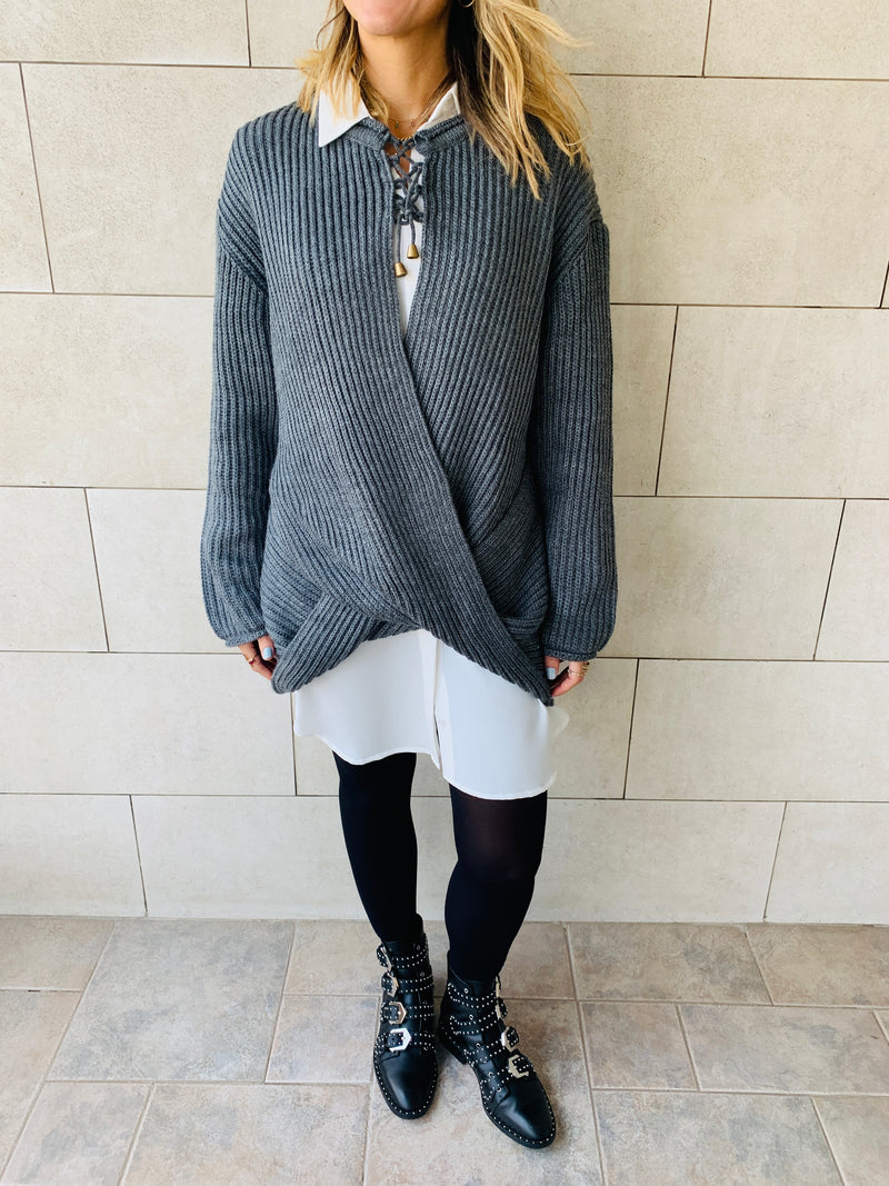 Charcoal Cross Over Pullover