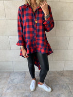 Red Checkered Luxe High Low Shirt
