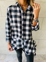 Checkered Luxe High Low Shirt