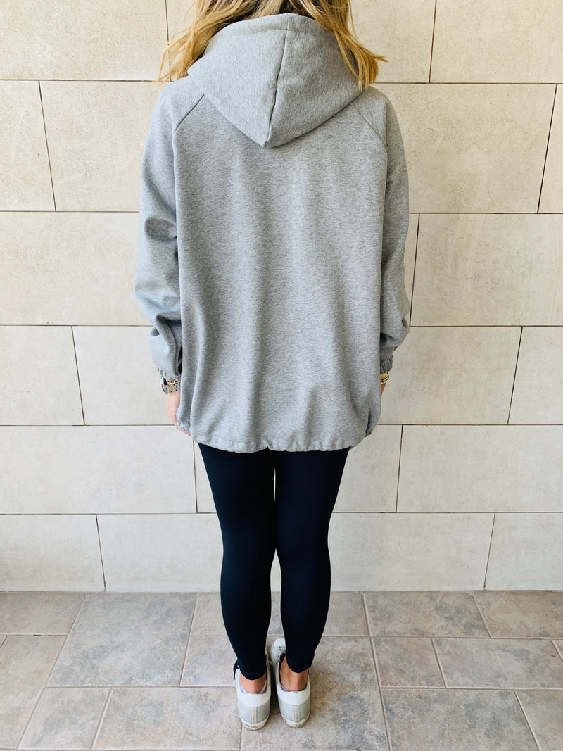 Grey Zip Up Lined Hoodie
