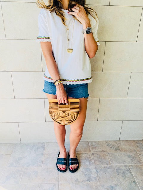 White Short Sleeve Tassel T-shirt