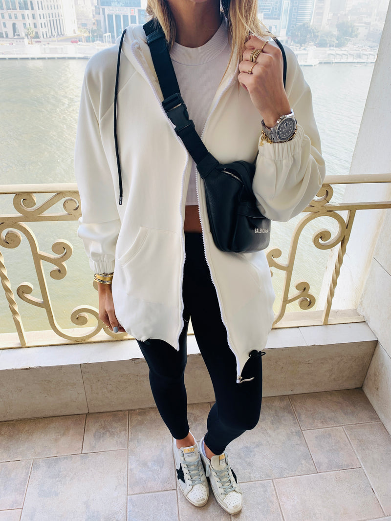 White Zip Up Lined Hoodie