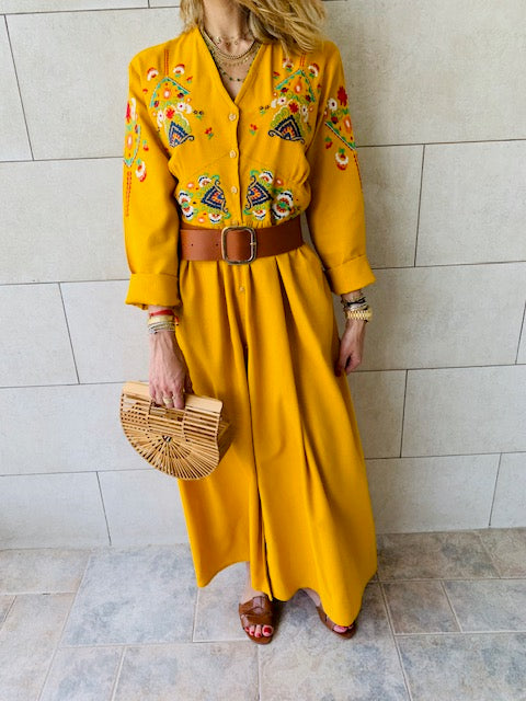 Mustard Cabana Embroidered Linen Dress