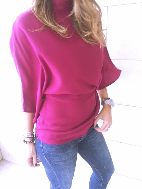 Fall Magenta Gathered Kimono Sleeve Top