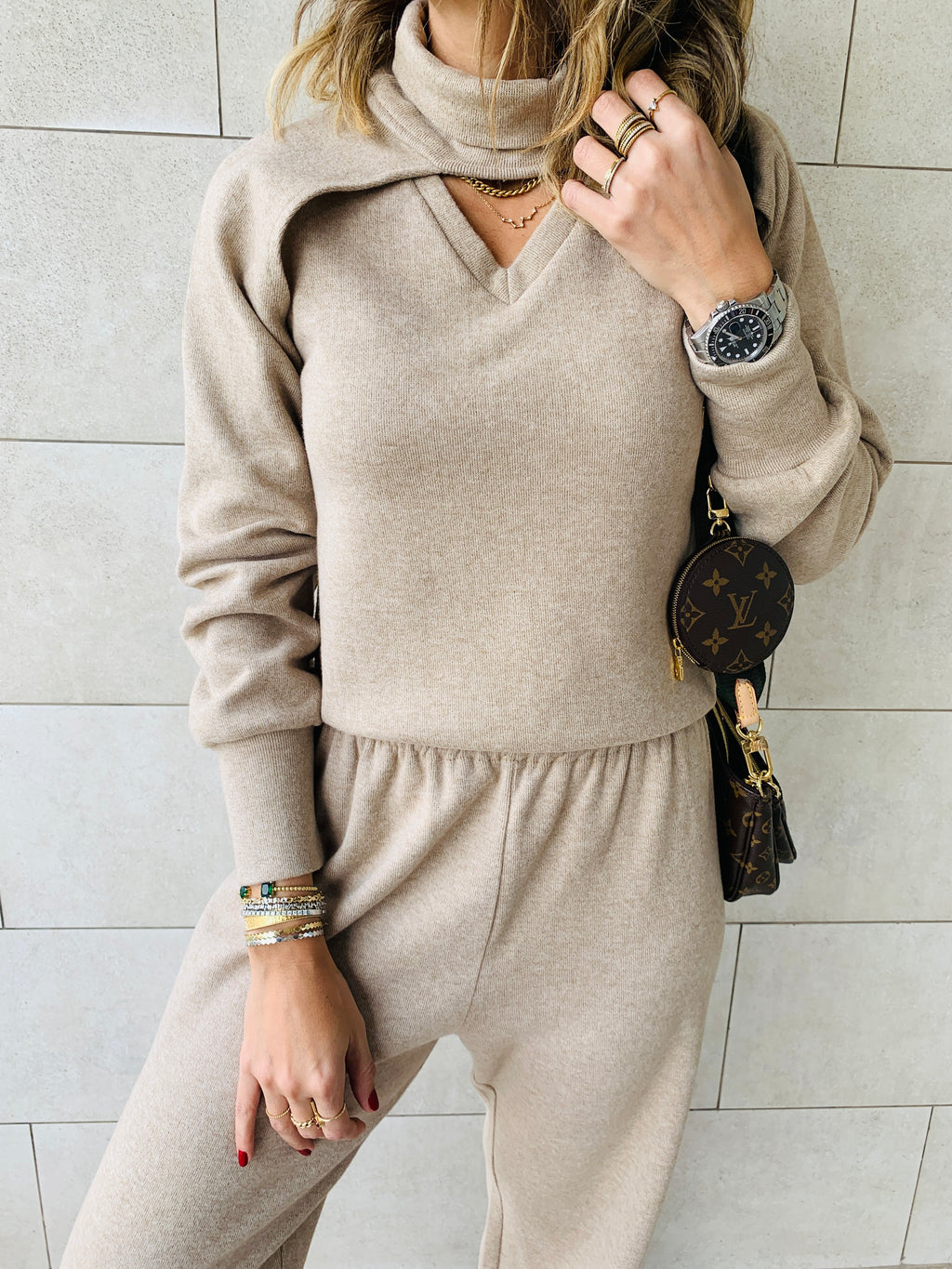 3 Piece Beige Knit Set