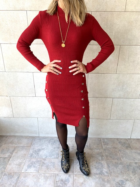 Burgundy Blitz Knit Dress