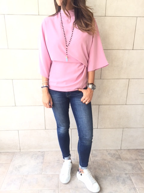 Fall Blush Gathered Kimono Sleeve Top