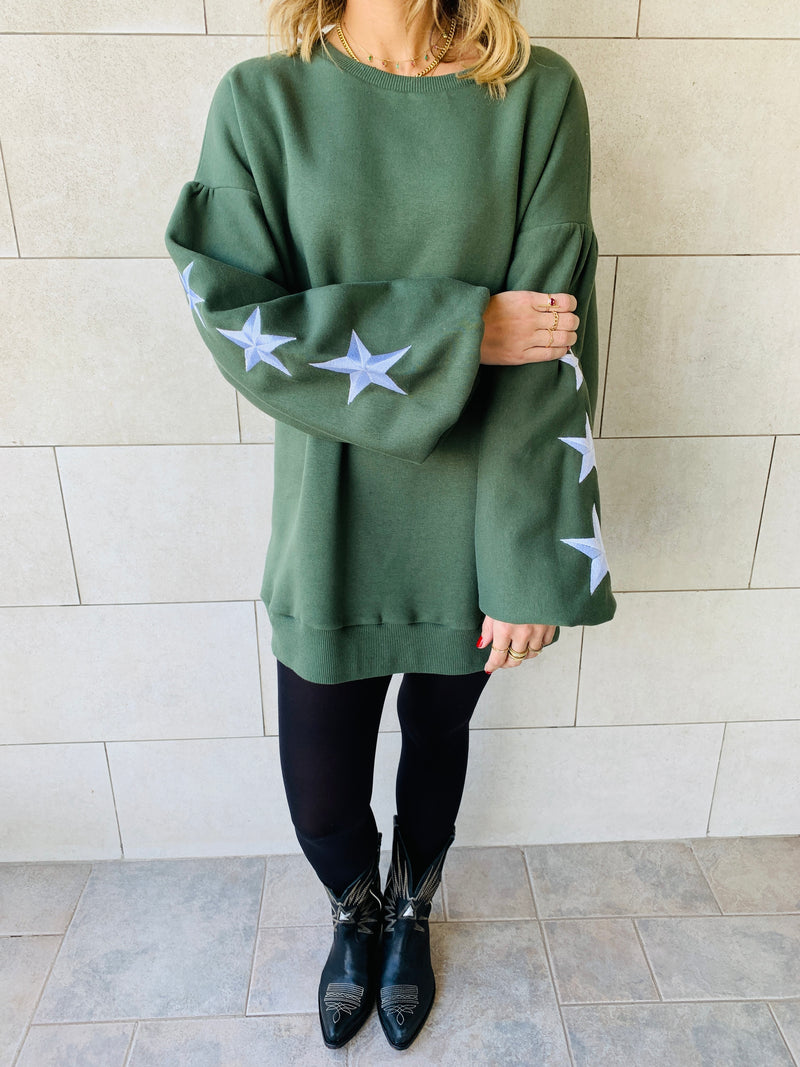 Olive Star Embroidered LongLine Sweatshirt